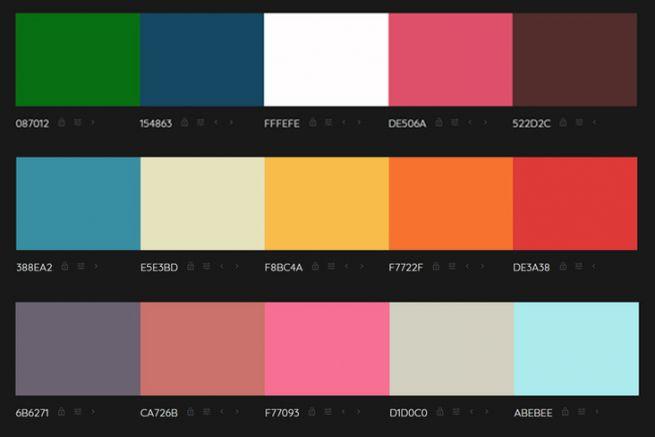 Capture écran de plusieurs palettes générées par Colormind