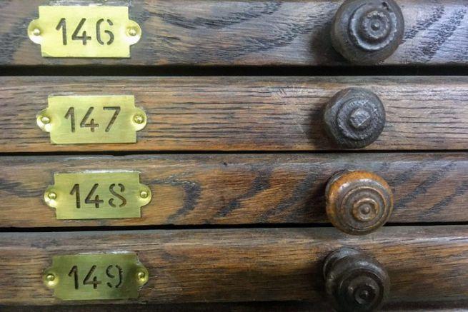 Meuble de typographe au Musée de l'Imprimerie de Nantes.