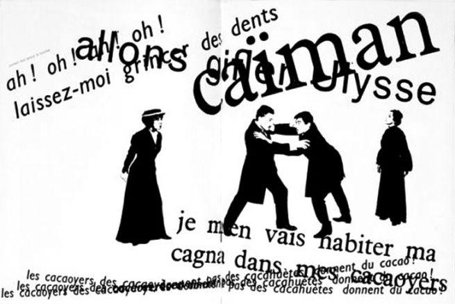 Extrait de l'édition mise en page par Robert Massin de La Cantatrice chauve d'Eugène Ionesco (1964).