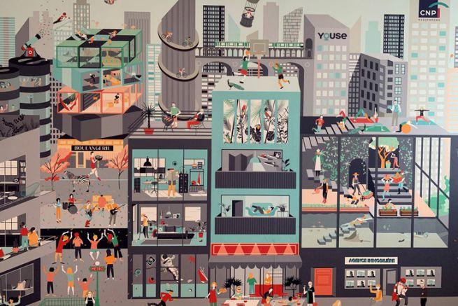 Peinture murale Youse City de l'atelier Parégrine