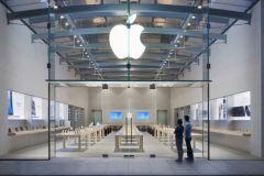 Apple Store de Palo Alto en Californie. Détail d'une photo d'Apple