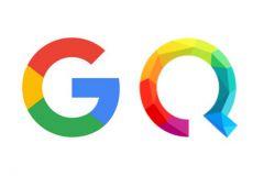 A gauche, le logo de Google lancé en septembre 2015, et à droite, celui de Qwant, présenté en avril 2015.