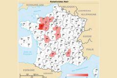 Cartographie des imprimeurs de livres équipés en rotative à impression noire en France.
