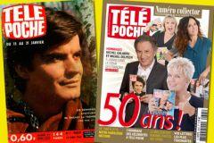 Le n°1 de Télé Poche datant du 12 janvier 1966, et à droite, 50 ans plus tard, le 2605enuméro du 16 janvier 2016.
