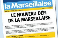 La Une de La Marseillaise datée du 15 mars 2016, veille du lancement de la nouvelle formule.