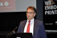 Stefaan Vanhooren, président d'Agfa Graphics, lors de la conférence de pré-Drupa au siège social de l'entreprise.