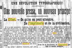 Article sur l'offset paru le 26 aout 1912 dans Le Siècle