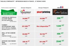 Capture d'écran du tableau comparatif de prix mis en ligne sur le site de Realisaprint.com