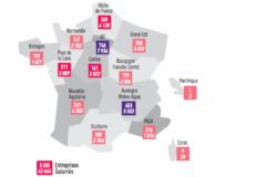 Carte du nombre d'imprimeries et de salariés des arts graphiques en 2015 en France, par région.