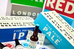 Un exemple des emballages produits par Saxon Packaging, avec ici les boites pour la brasserie anglaise The Five Points.
