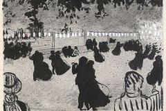 Le bal, Hermann Paul, crayon, encre noire et gouache blanche sur papier.