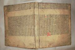 Fragment de la Bible de Gutenberg imprimé sur vélin.