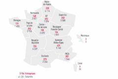 Imprimerie de labeur : nombre d'établissements et de salariés par régions en 2016.
