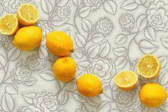 Nappe en Toile de coton bio, imprimé Fleurs en gris clair.