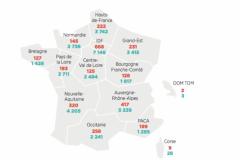 Nombre d'imprimeries et de salariés en France par région en 2017