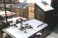 Atelier du typographe Jacques Renou à Groutel, dans les Pays de Loire (72).