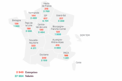 Nombre d'imprimeries et de salariés en France par région en 2018.