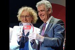 Muriel Pénicaud, ministre du Travail, et Jean-Claude Cornillet, président de Konica Minolta Business Solutions France