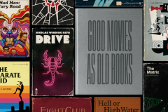 Projet graphique de Matt Stevens : Good Movies as old Books.