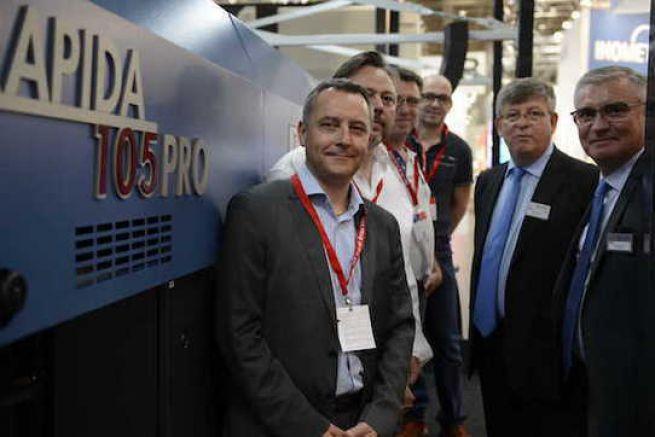 Stéphane Béra (PDG IME), Olivier Guermouh, Eric Duval (IME), Michel Faust et Sylvain Bacquaert (KBA) Drupa