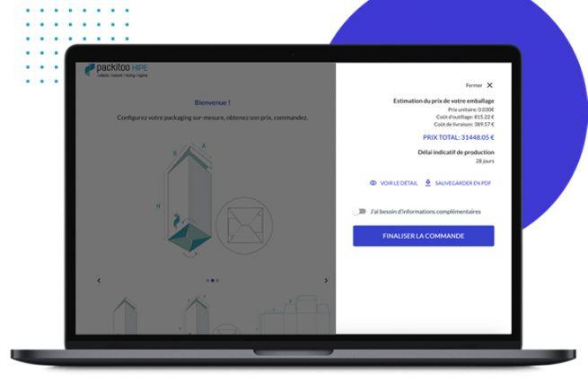 Le logiciel de devis HIPE de Packitoo simplifie tout le process de vente de packaging sur mesure