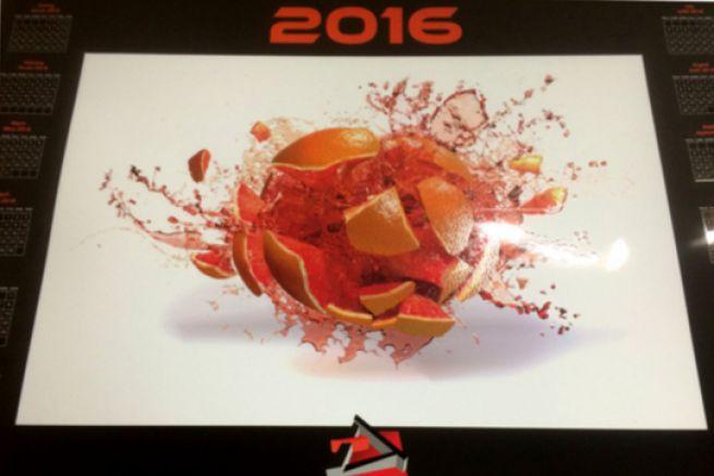 Détail du calendrier 2016 de l'APP présentant les effets texturés du vernis 3D de la MGI.