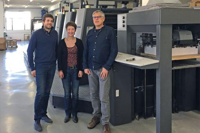 De G. à D., Henri Burlat, directeur commercial du groupe, Nadine Delaroche et Didier Burlat, pdg et fondateur du groupe Burlat.